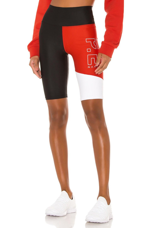 P.E Nation Benchwarmer Short in Black, Red & White