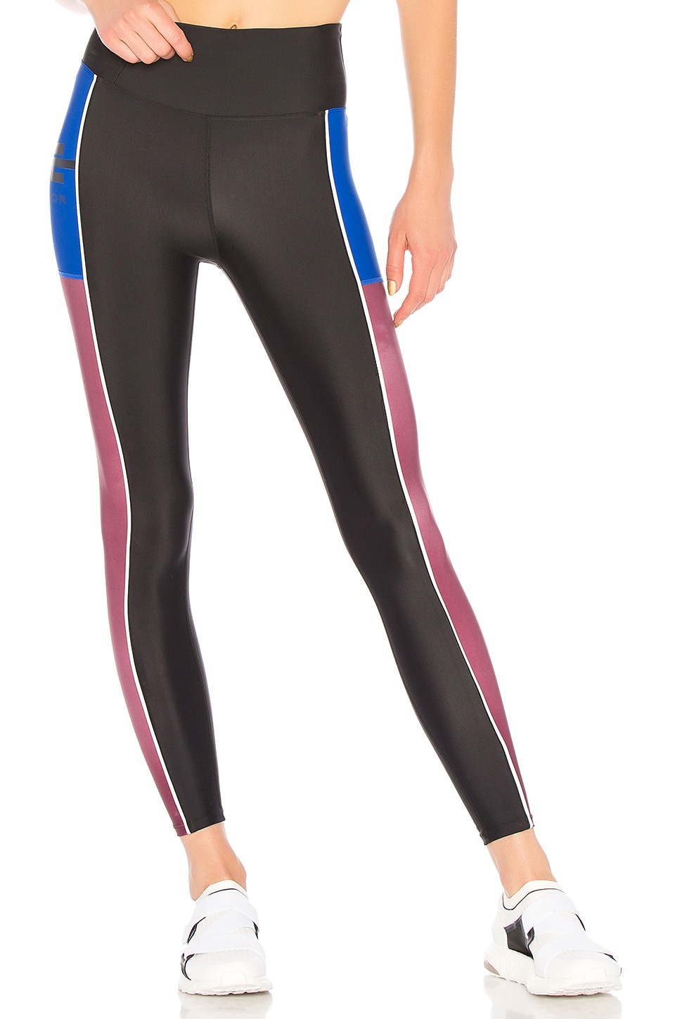 P.E NATION Without Limits Striped Stretch Leggings in Black