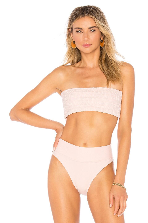 Peony Swimwear Smocked Bandeau Bikini Top in Petal