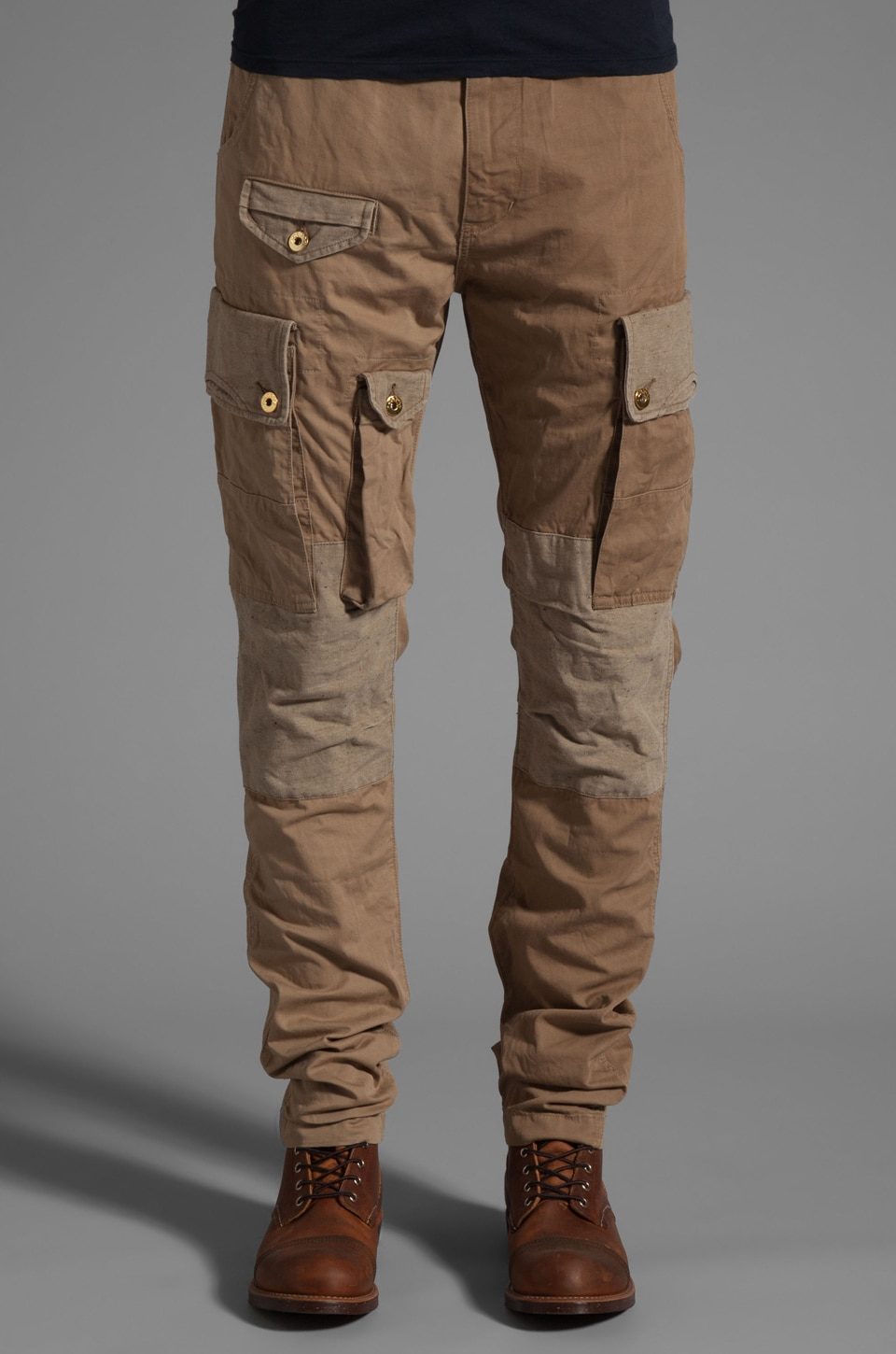 PRPS Goods & Co. Khaki Patchwork Pant in Khaki