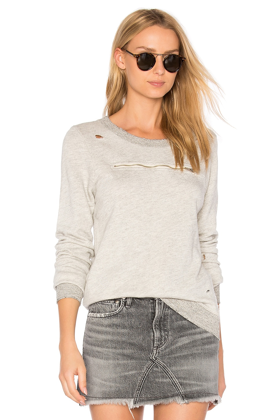 n:PHILANTHROPY Ash Zip Sweatshirt in Heather Grey