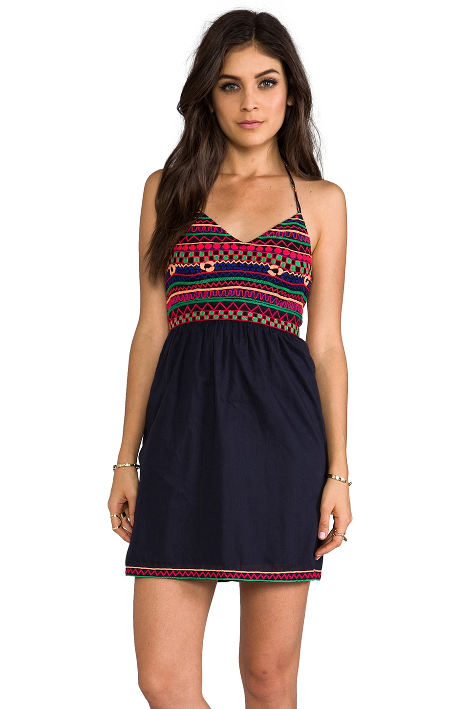 Pia Pauro Mini Embroidered Halter Dress in Navy