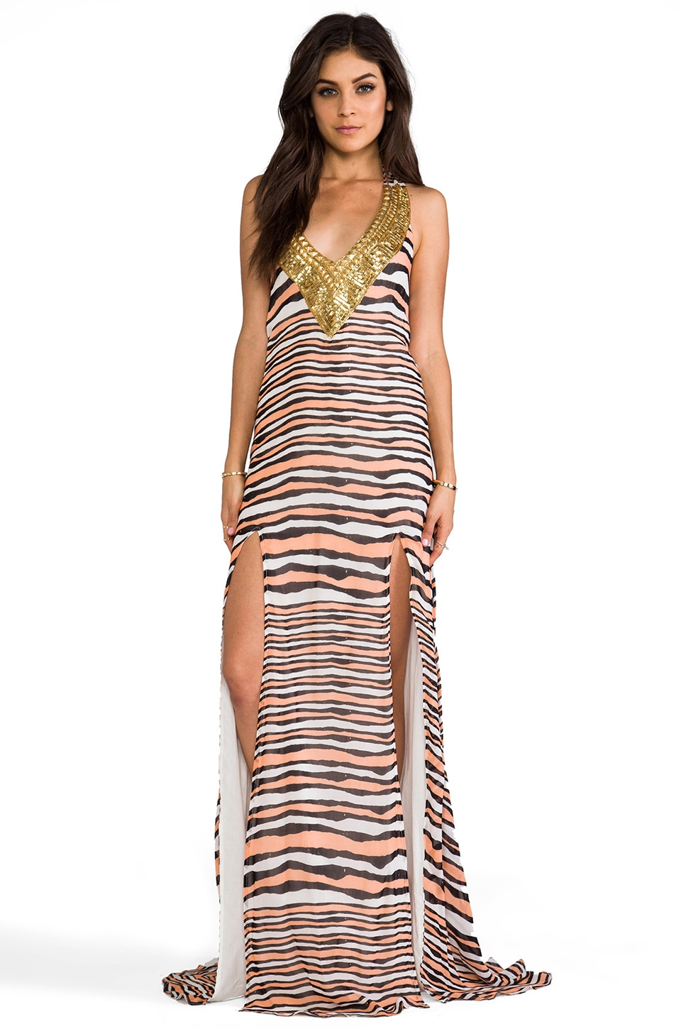 Pia Pauro Gold Embellished Maxi w/ Slits in Peach Stripe