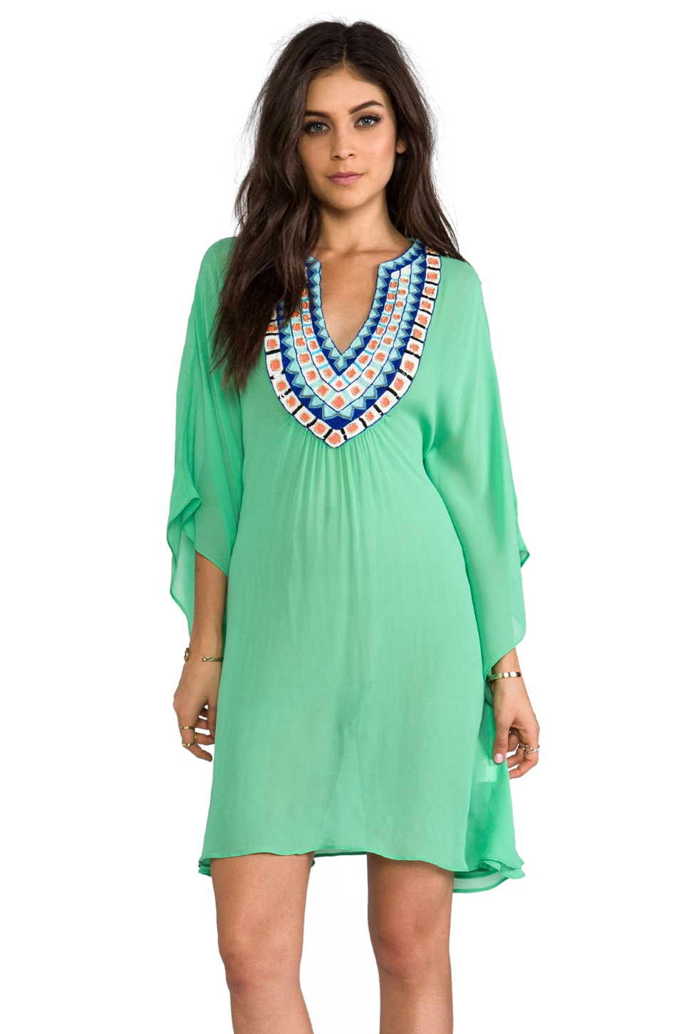 Pia Pauro Short Kaftan w/ Embroidered Neck in Aqua