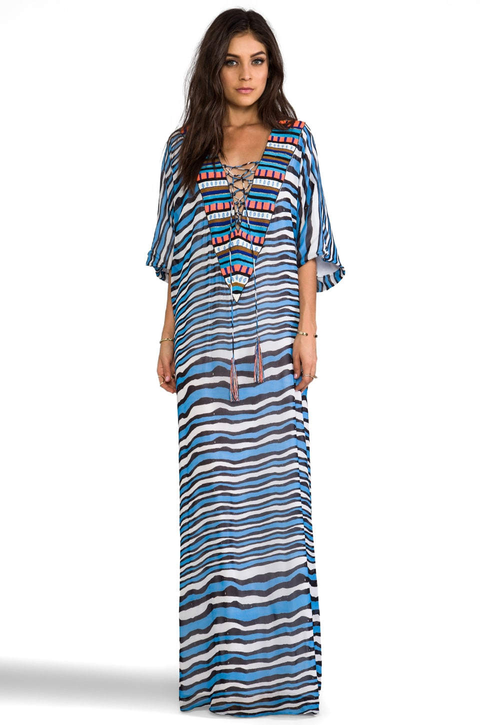 Pia Pauro Kaftan w/ Slits & Embroidered Neck in Blue Stripe