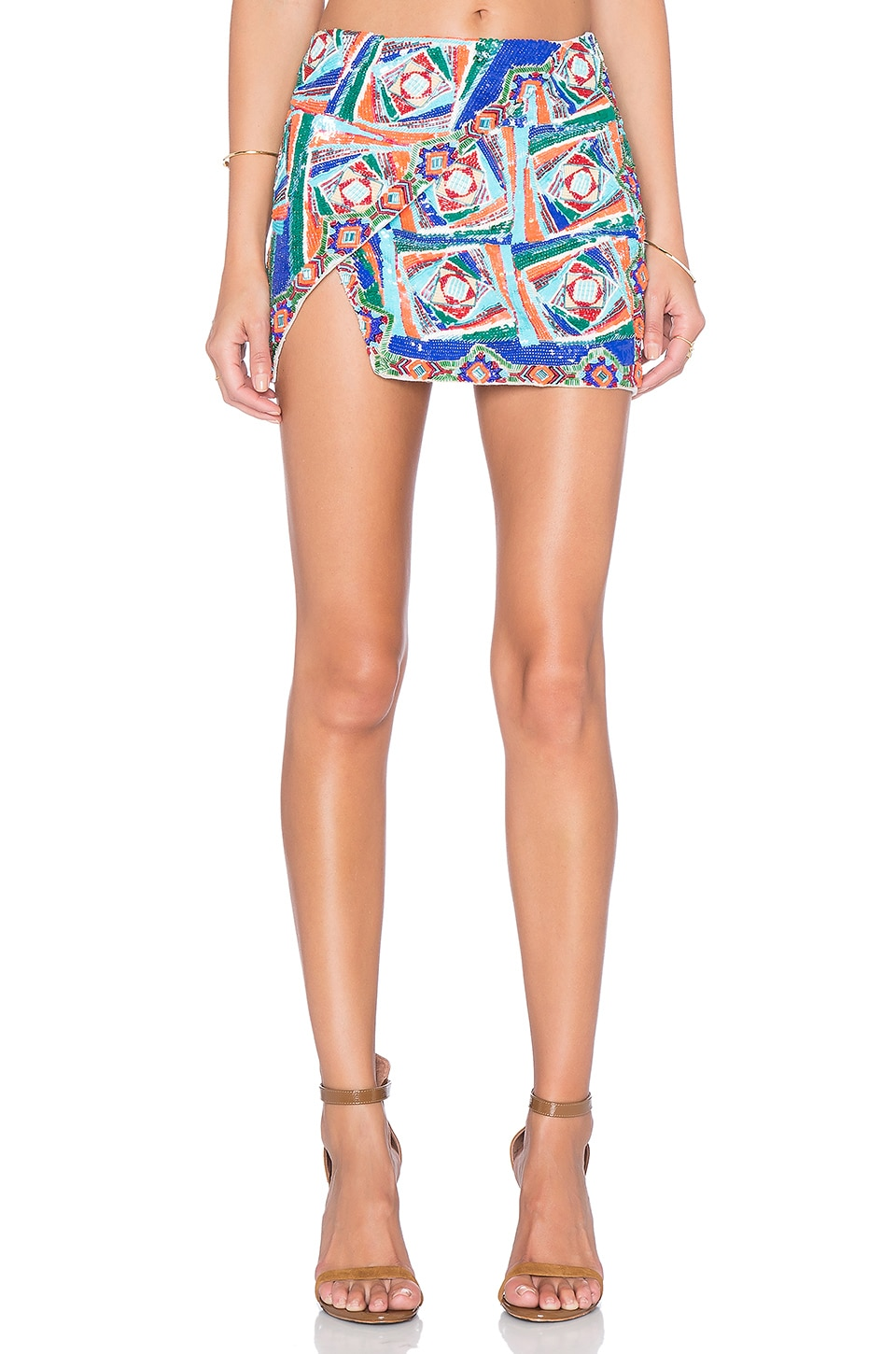 Pia Pauro Side Flap Embroidered Mini Skirt in Multi