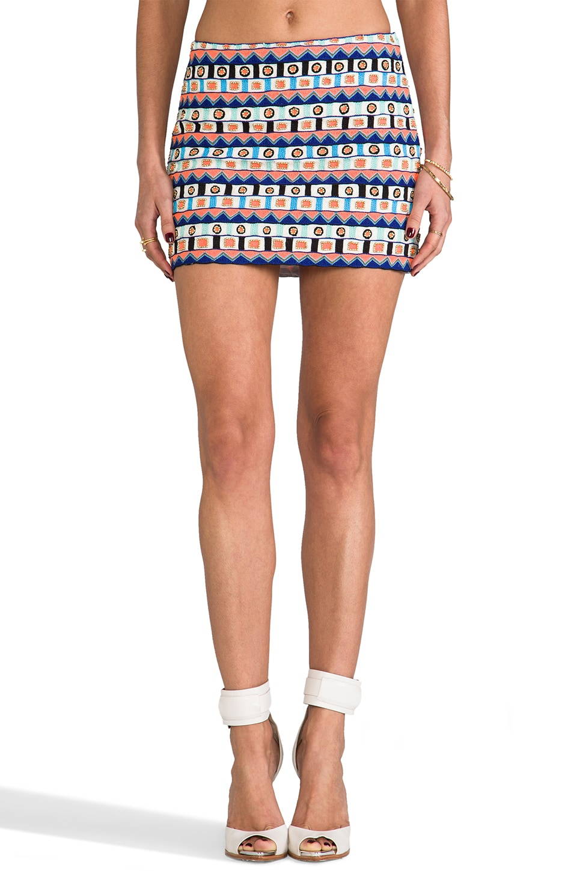 Pia Pauro Embellished Mini Skirt in Minerva Goddess Embroidery