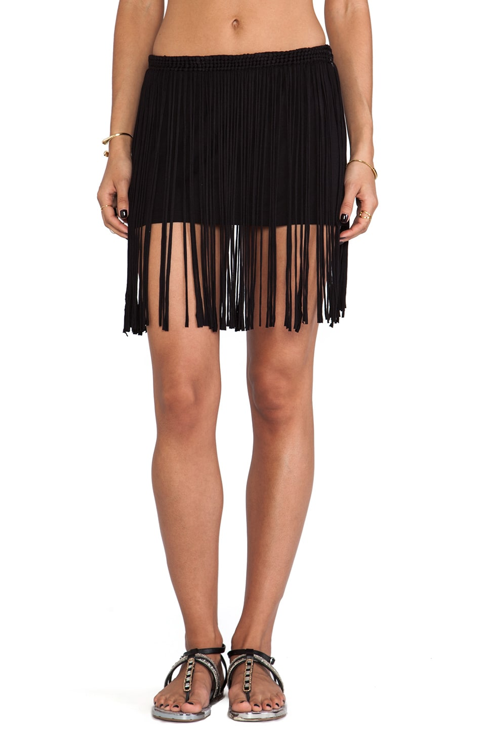 Pia Pauro Lounge Fringe Skirt with mini in Black