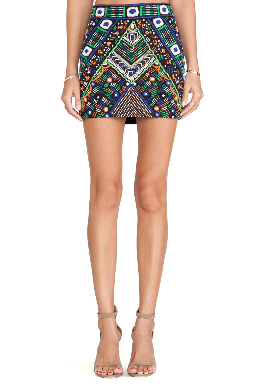 Pia Pauro Embroidered Mini Skirt in Black