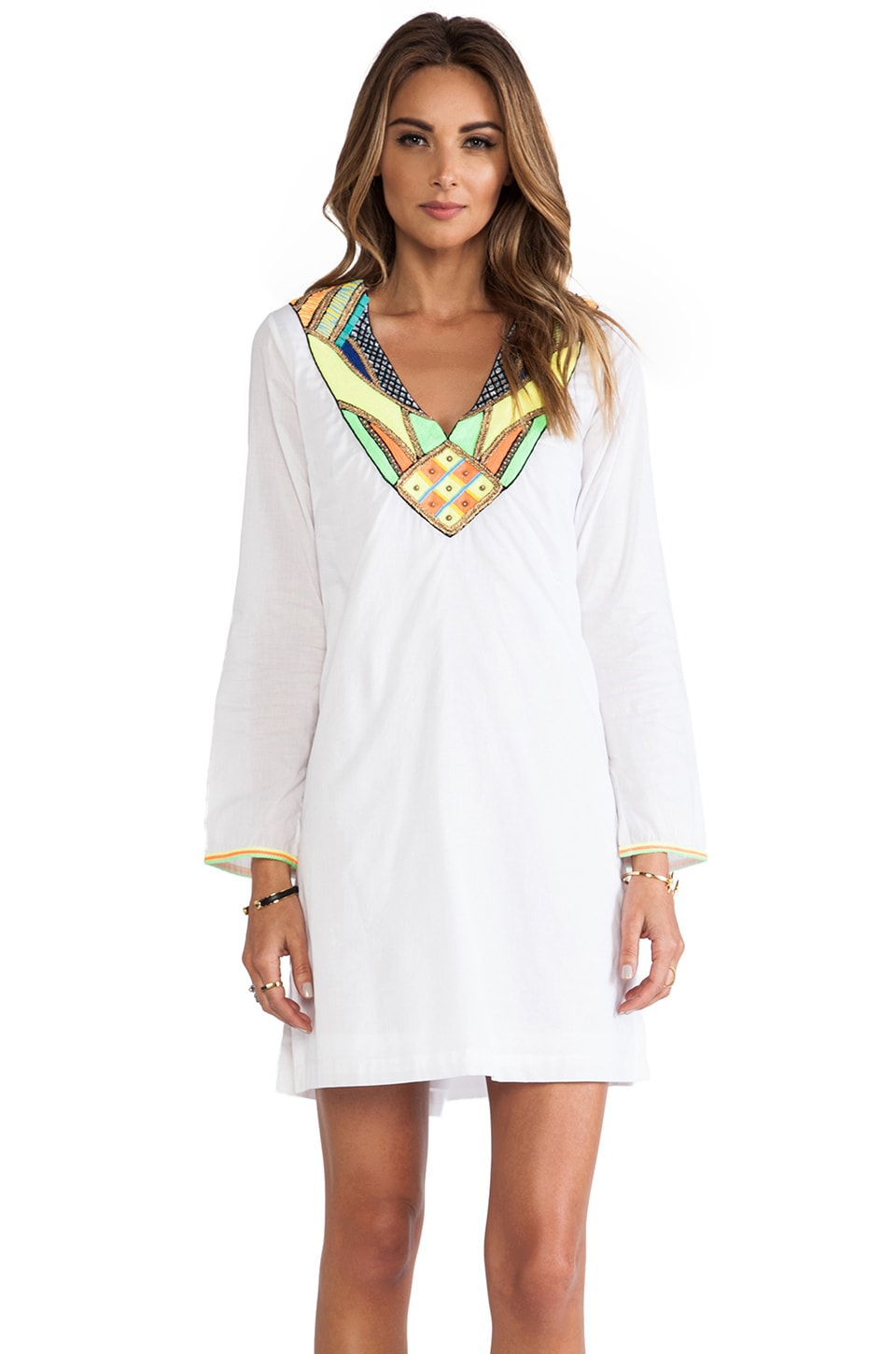 Pia Pauro Discovery Pool Neon Afrique Caftan in White