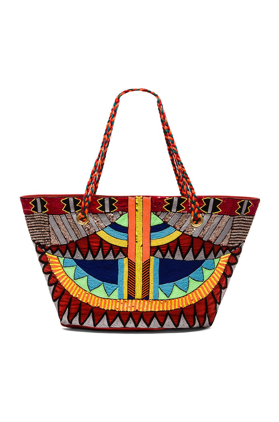 Pia Pauro Zulu Bling Tote in Embroidery