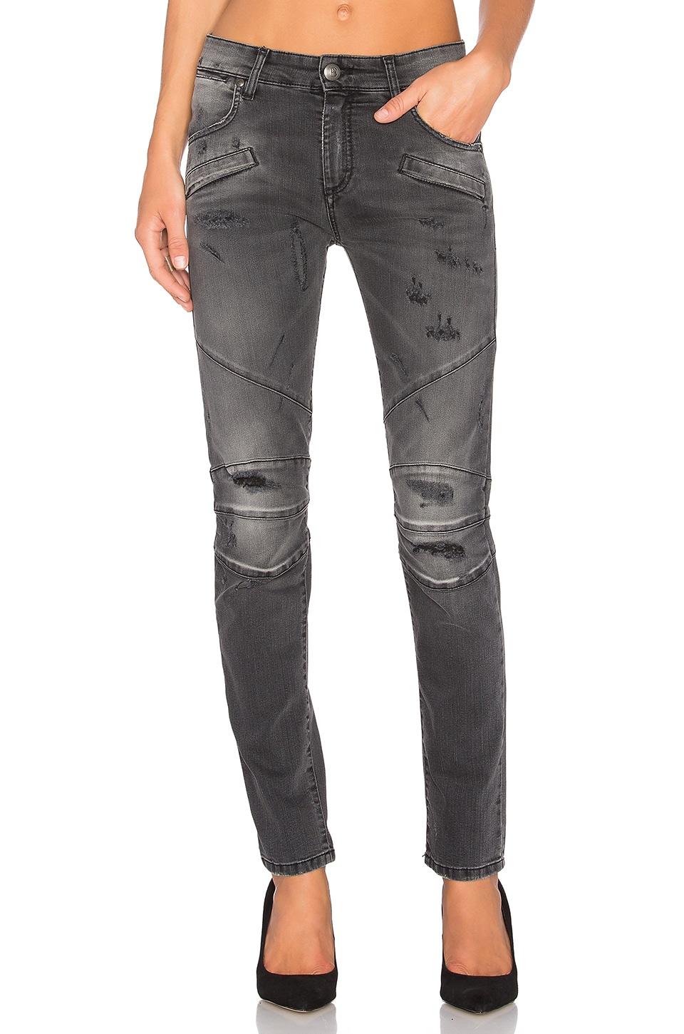 Pierre Balmain Moto Skinny Jean in Black Denim