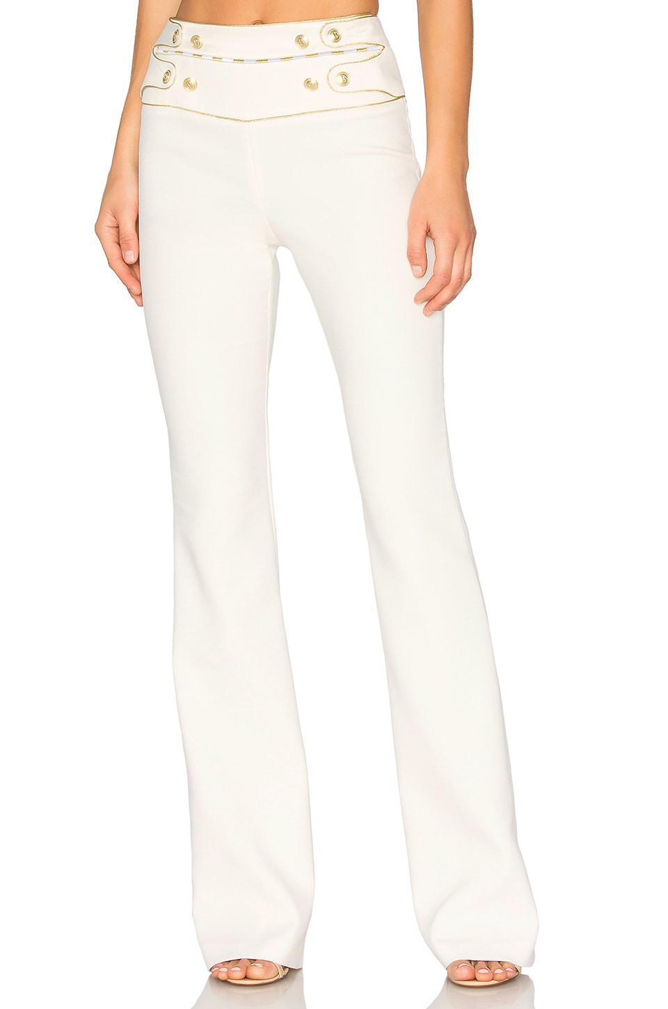 Pierre Balmain High Waist Wide Leg Pant in Off White