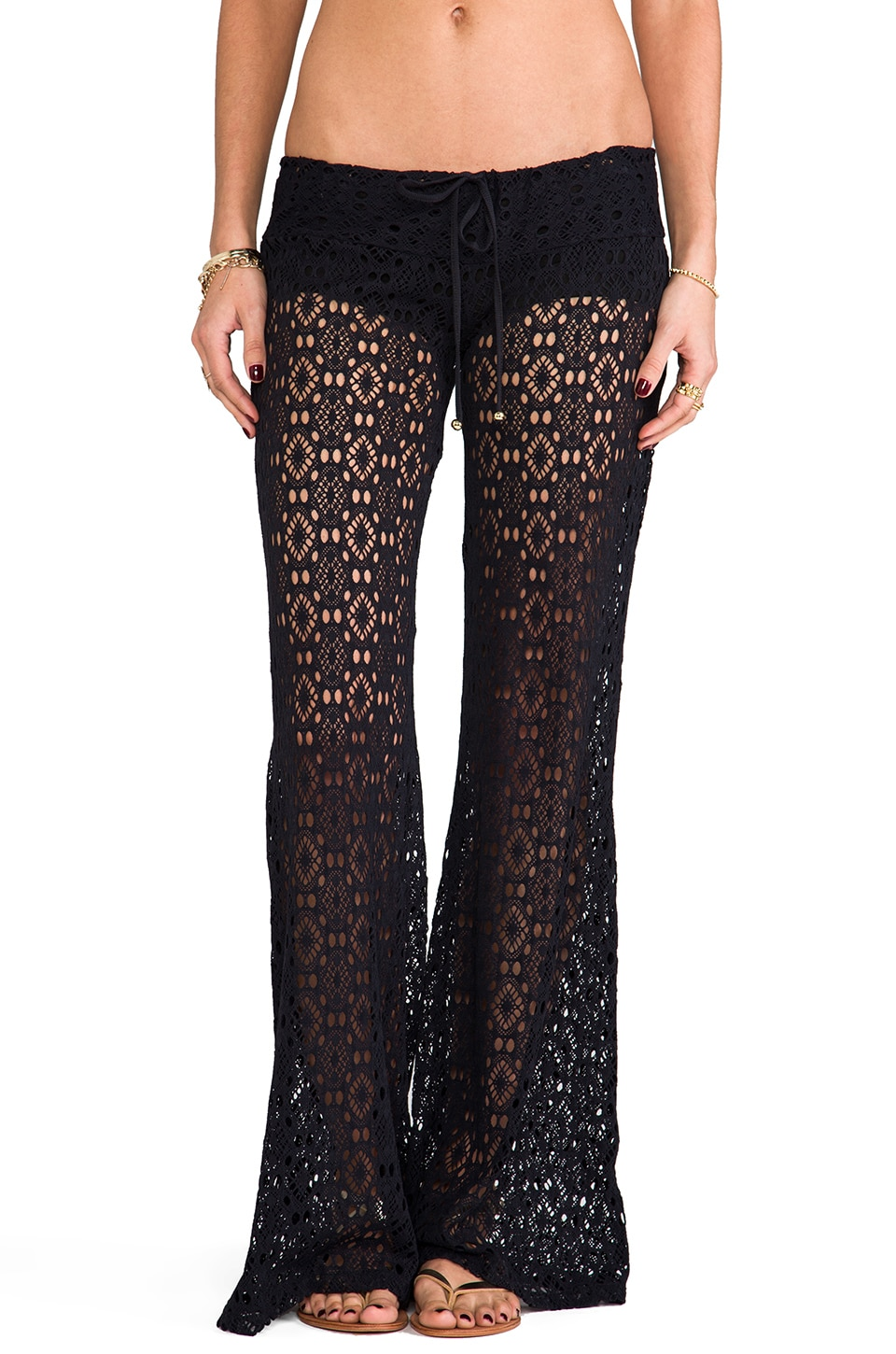 PILYQ Eyelet Lace Pants in Midnight Gold