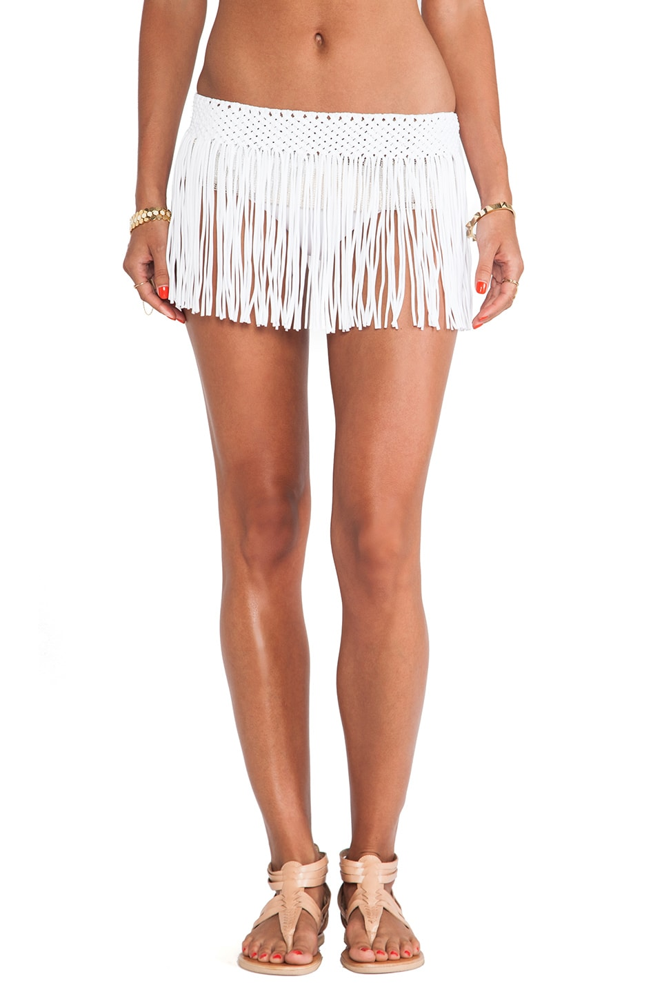 PILYQ Fringe Skirt in Water Lily