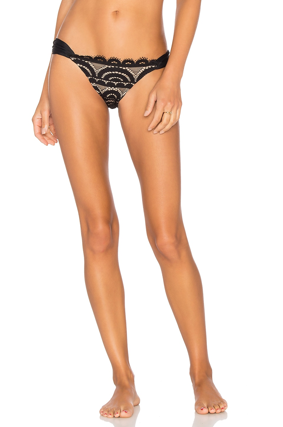 PILYQ Black Lace Fanned Teeny Bikini Bottom