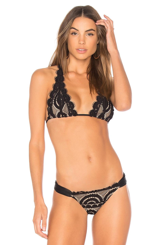 PILYQ Lace Halter Bikini Top in Black