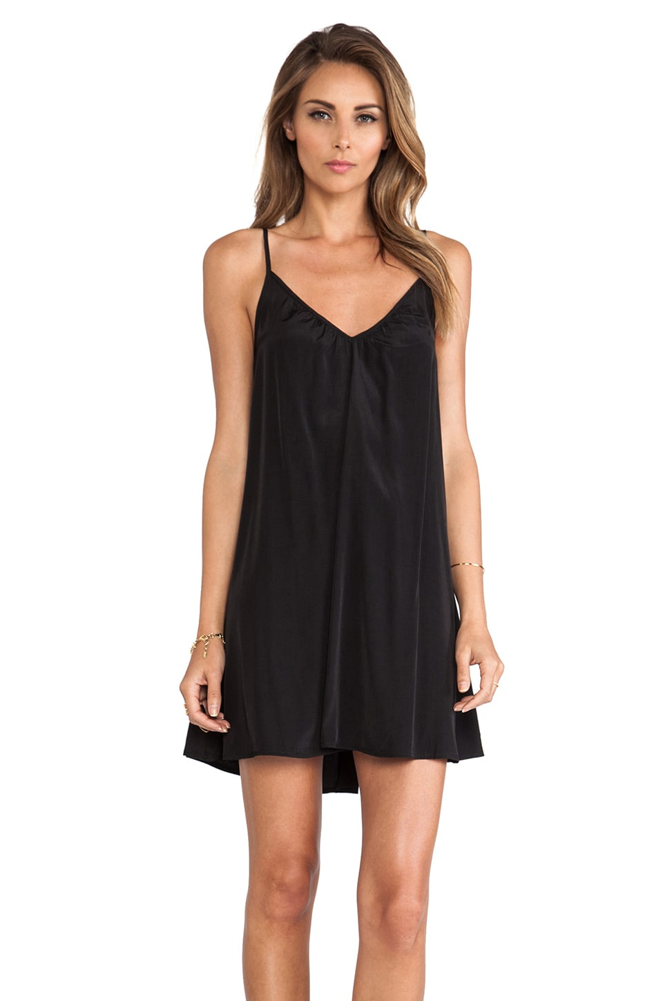 Pink Stitch Resort Mini Dress in Black