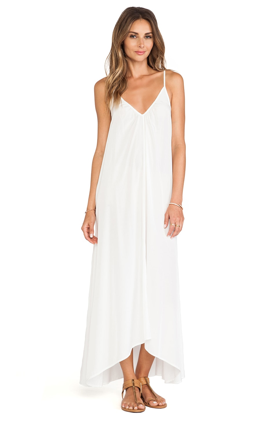 Pink Stitch Resort Maxi in White
