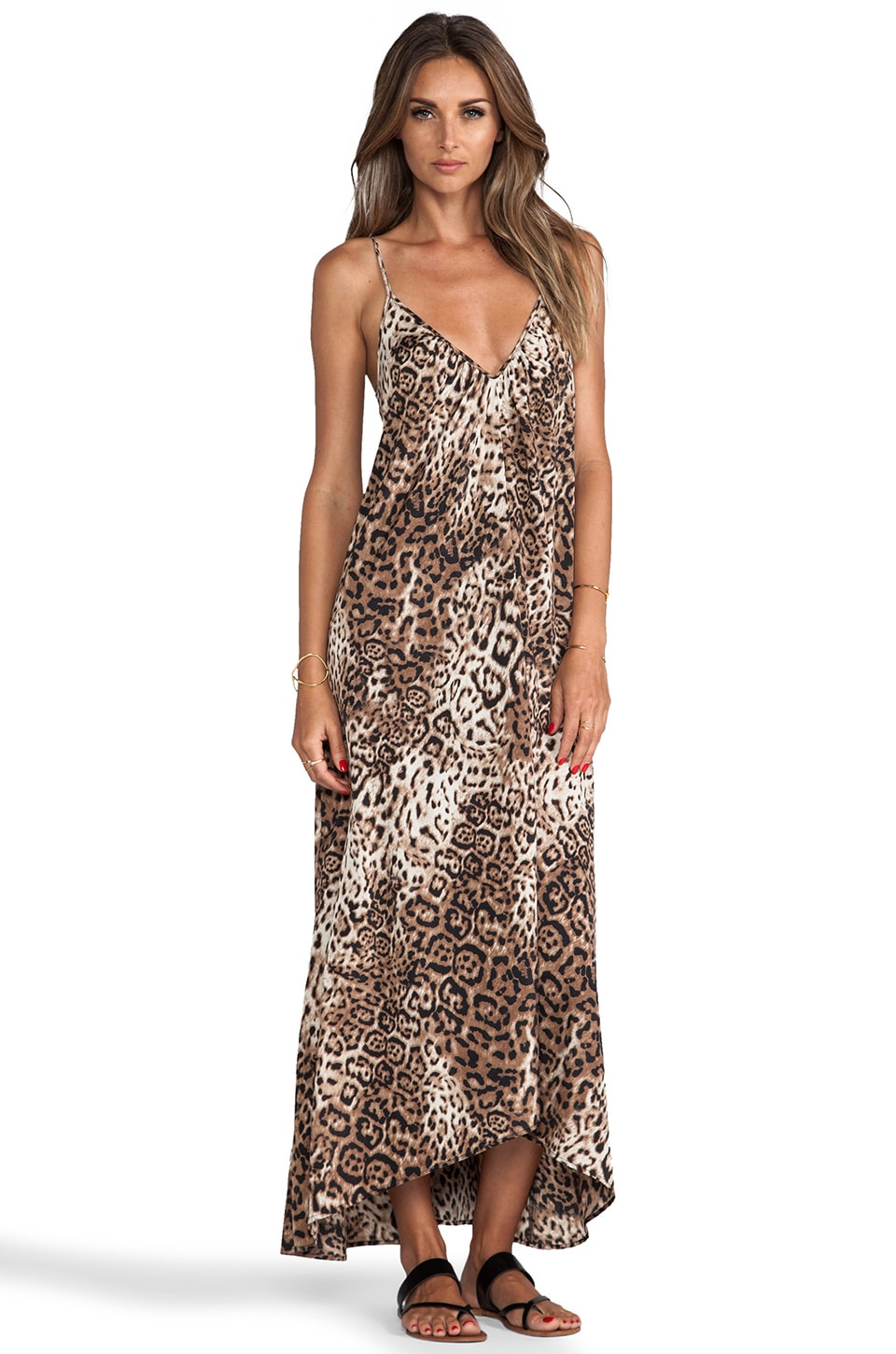 Pink Stitch Resort Maxi Dress in Animal Print
