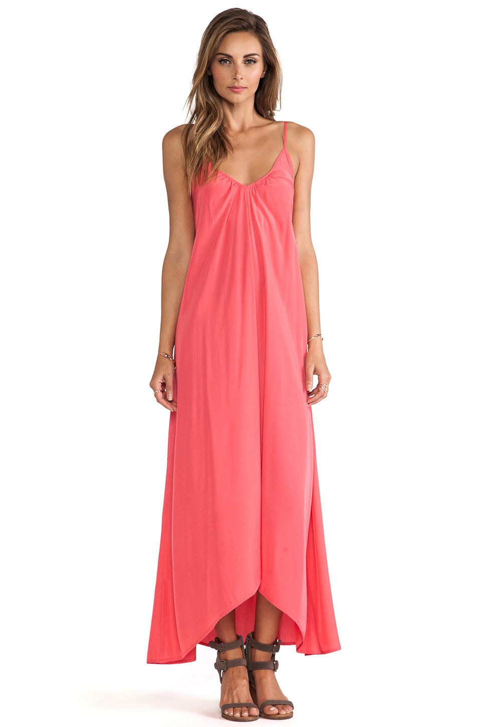 Pink Stitch Resort Maxi Dress in Lipstick