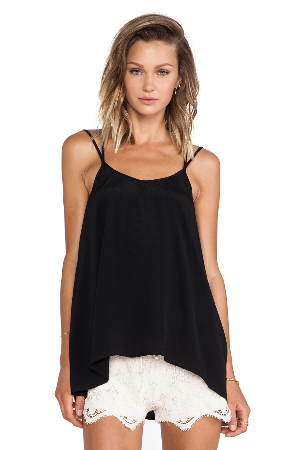 Pink Stitch Dover Cami in Black