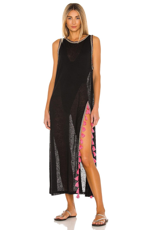 Pitusa Tassel Slit Dress in Black