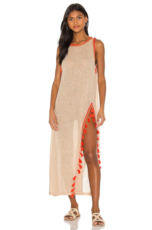 Pitusa Tassel Slit Dress in Nude