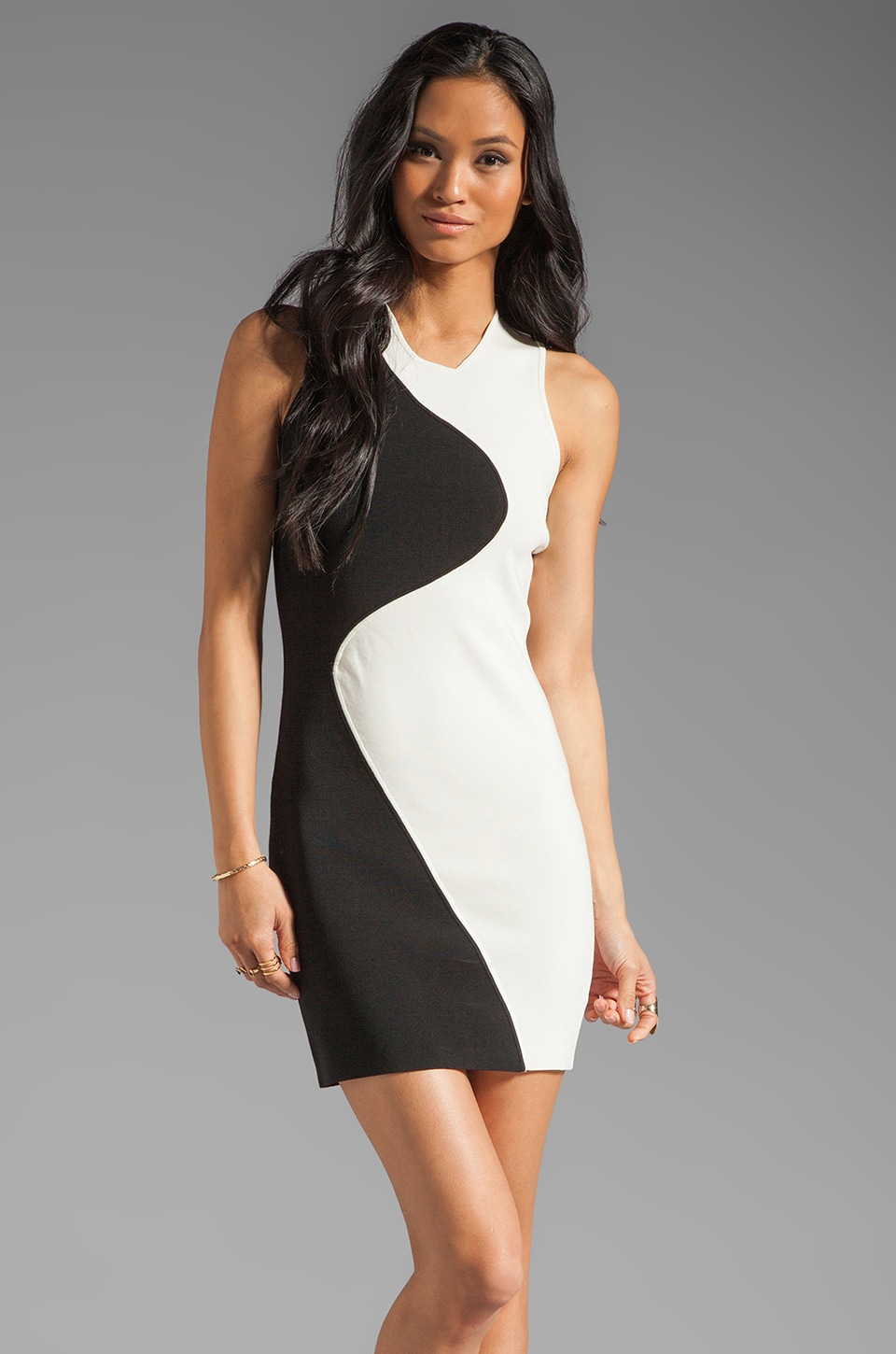 Parker Ying Yang Dress in Ivory/Black