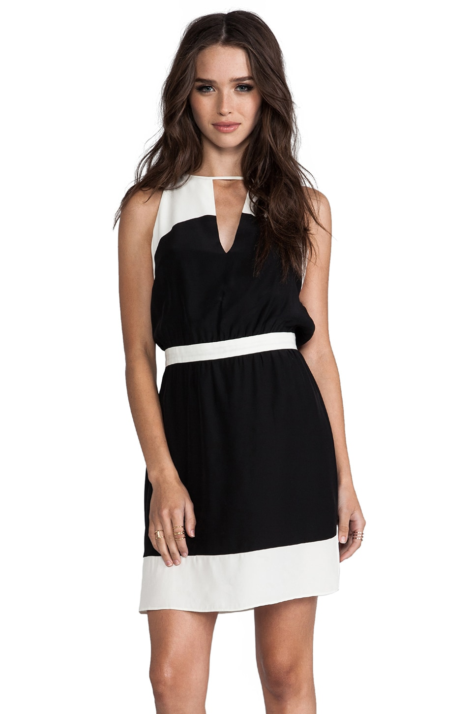 Parker Colorblock Keyhole Dress in Ivory/Black