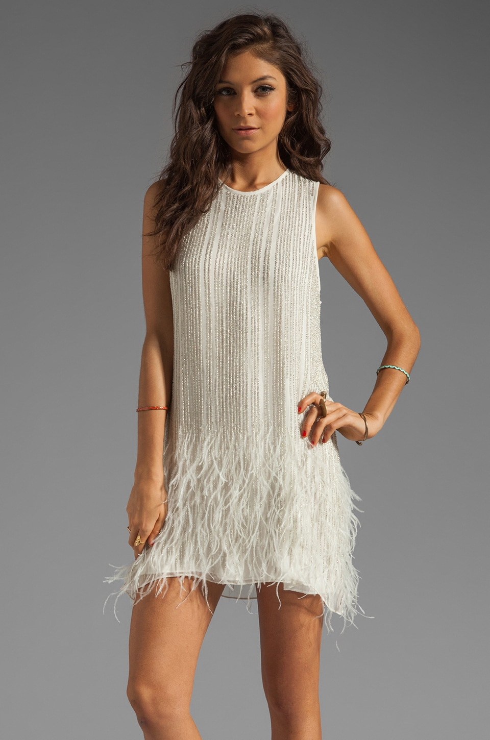 Parker Allegra Feather Beaded Dress in Linen