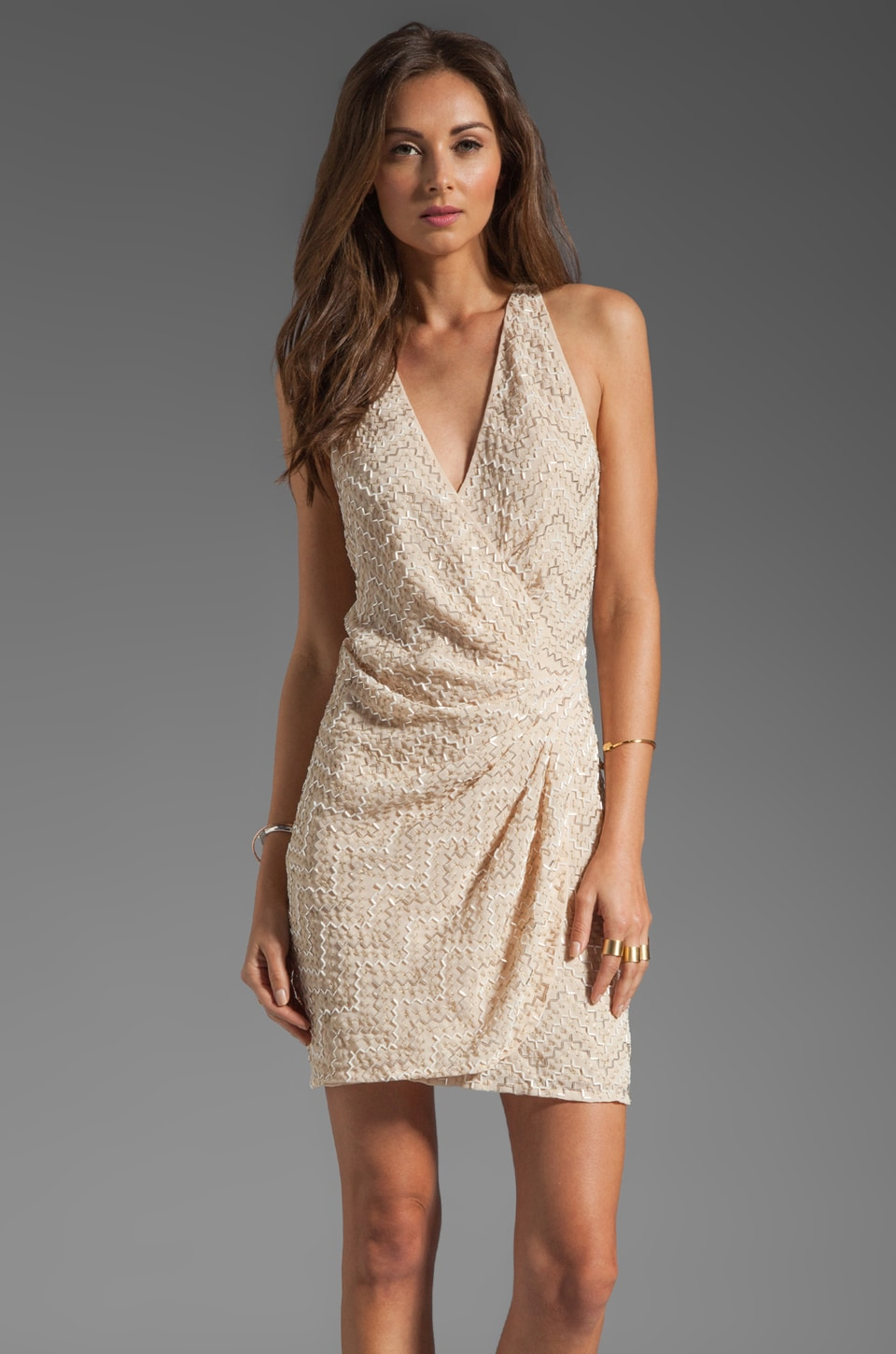 Parker Duet Sequin Thread Pyramid Dress in Nude
