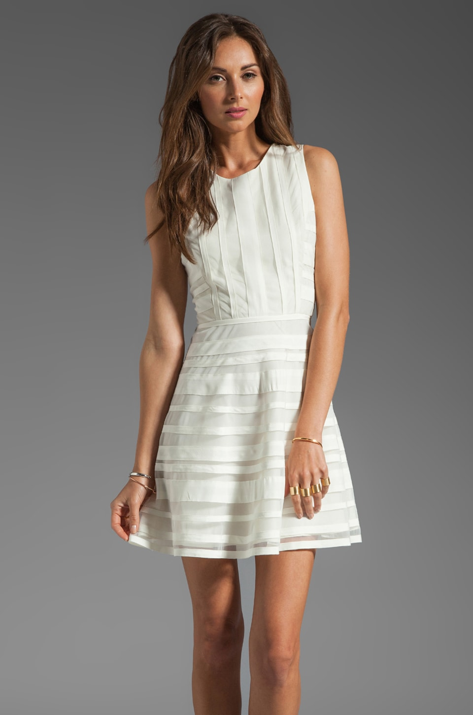 Parker Core Thick Mesh Panel Dress in Linen