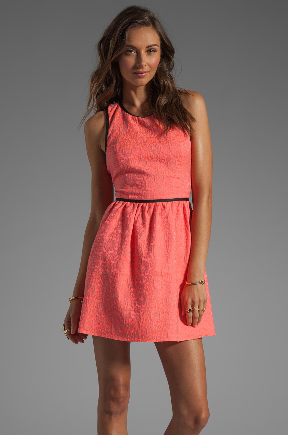 Parker Channing Floral Dress in Grapefruit Combo