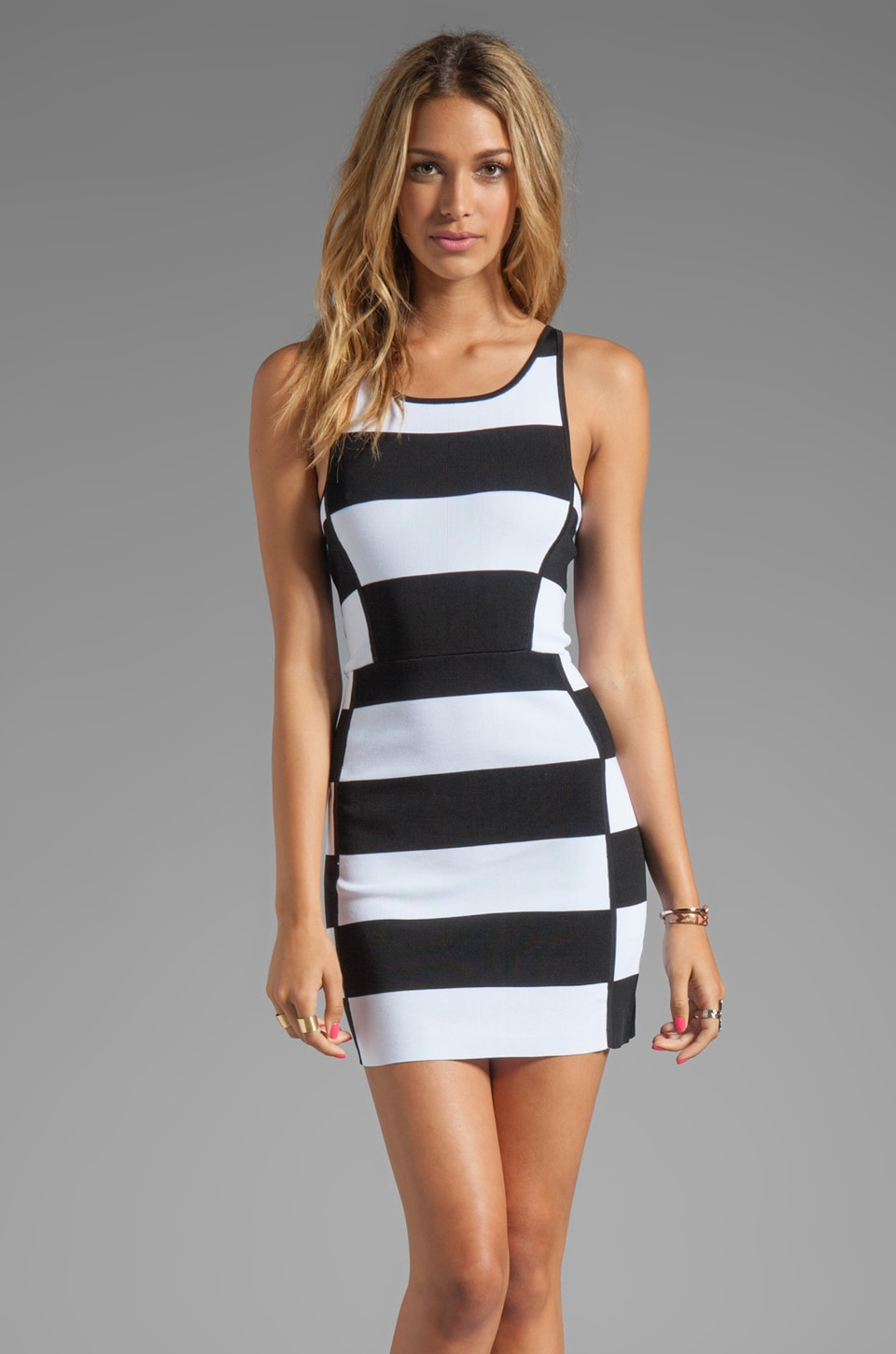 Parker Leigha Combo Dress in Black/White