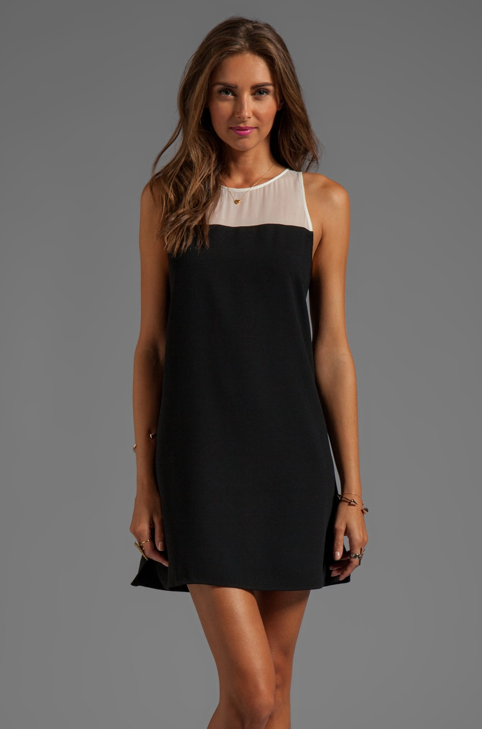 Parker Pipsy Sheer Dress/White in Black