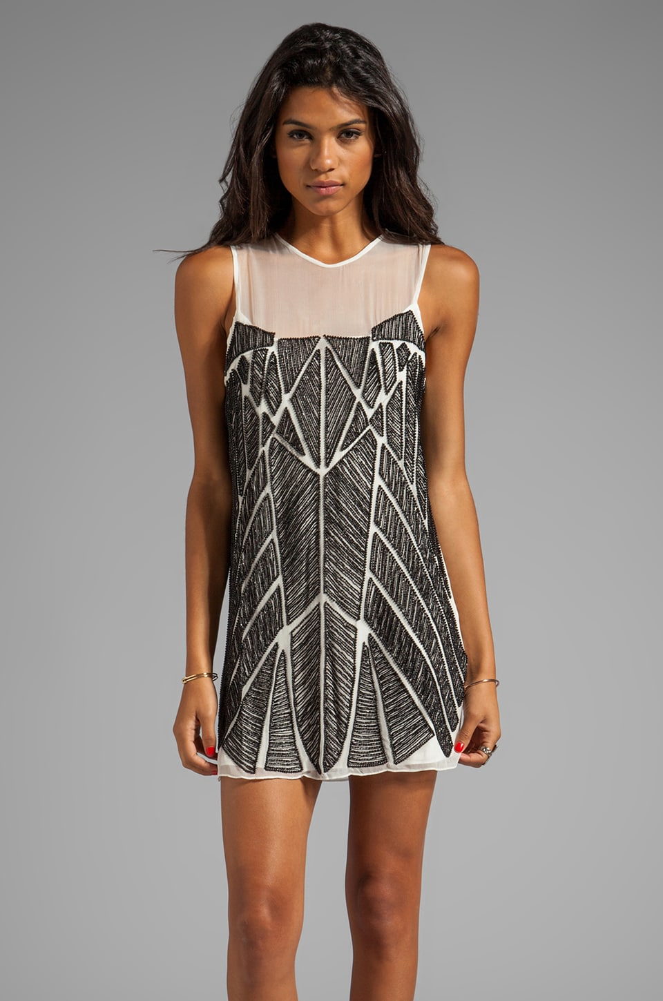 Parker Allegra Dress in Black/White
