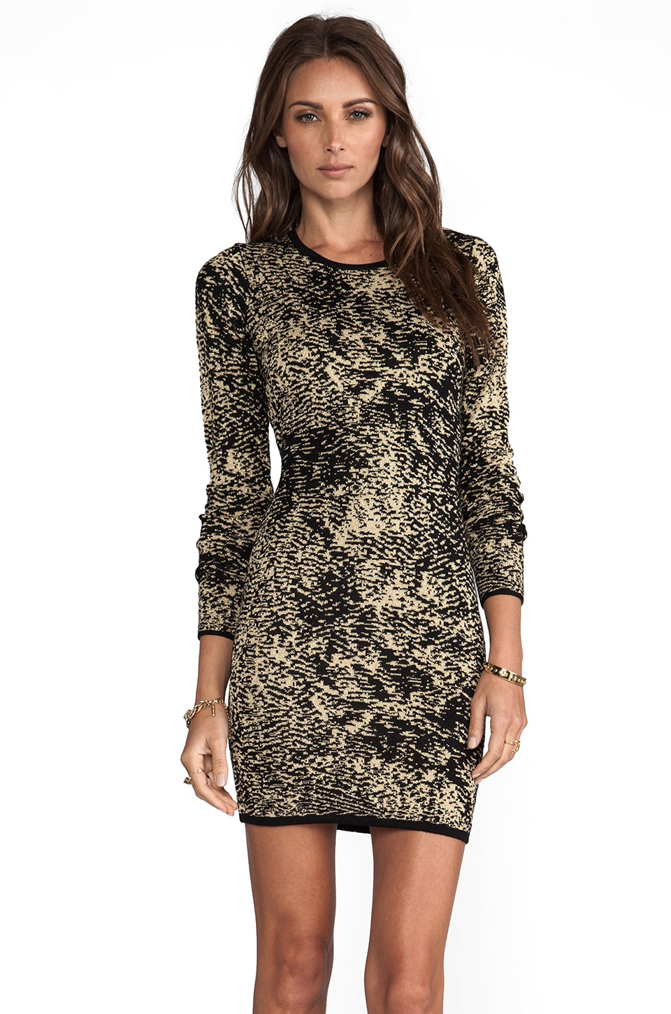 Parker Ashton Long Sleeve Dress in Black/Bronze