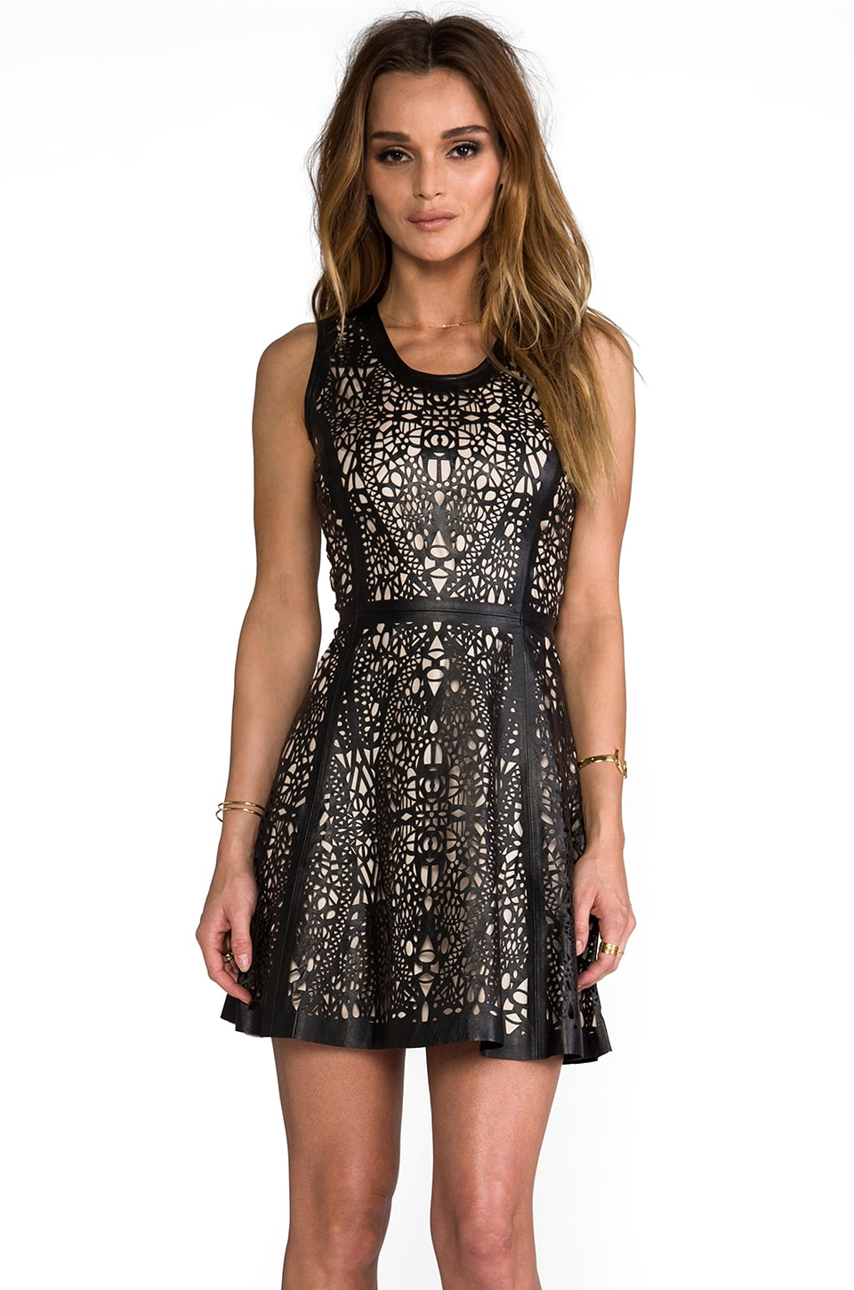 Parker Flavia Leather Detailed Dress in Black