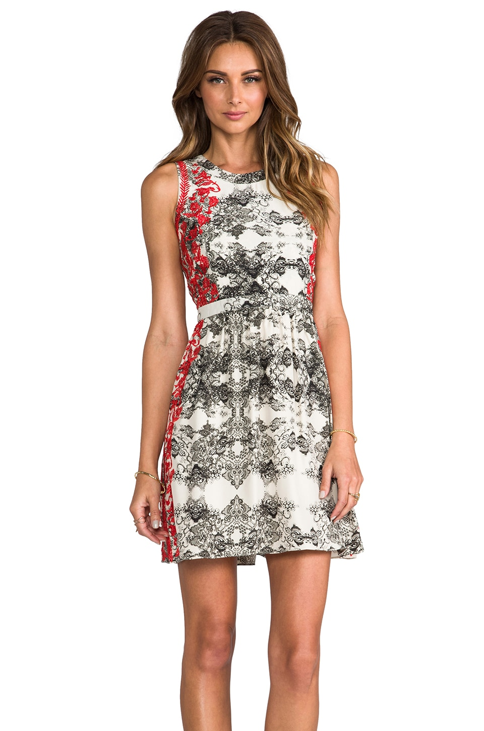 Parker Embroidered Ancho Dress in Poinsettia