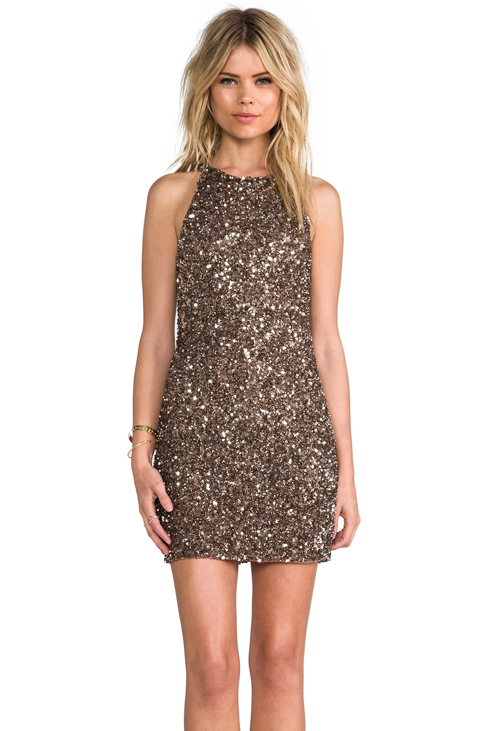 Parker Audrey Sequin Dress in Taupe