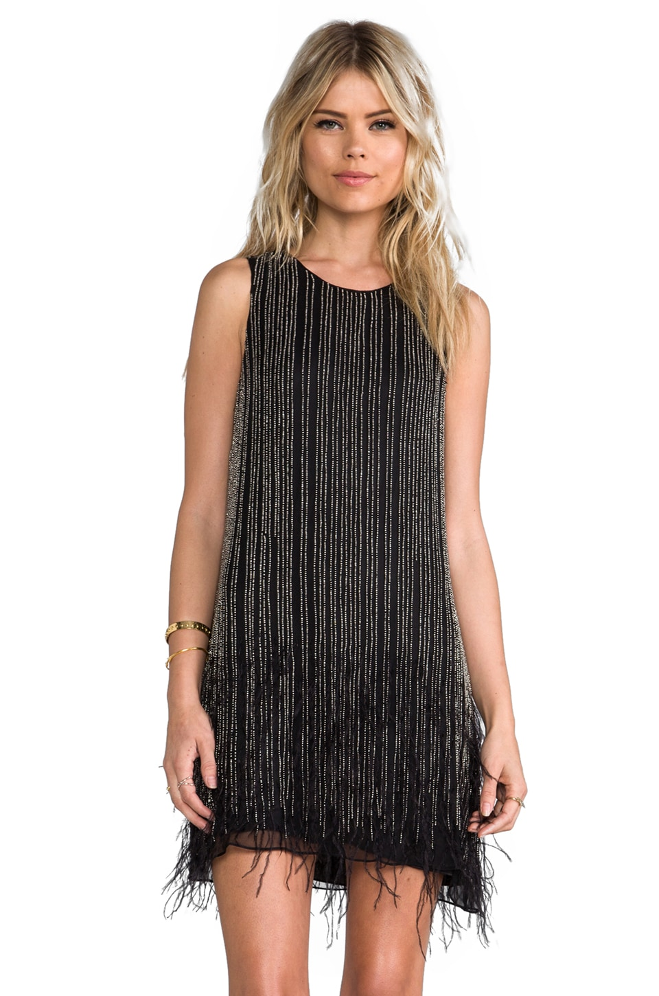 Parker Allegra Feather Dress in Black