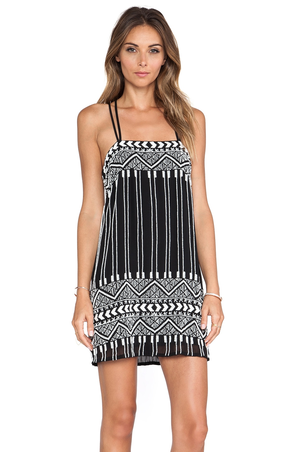 Parker Barnet Beaded Dress in Black