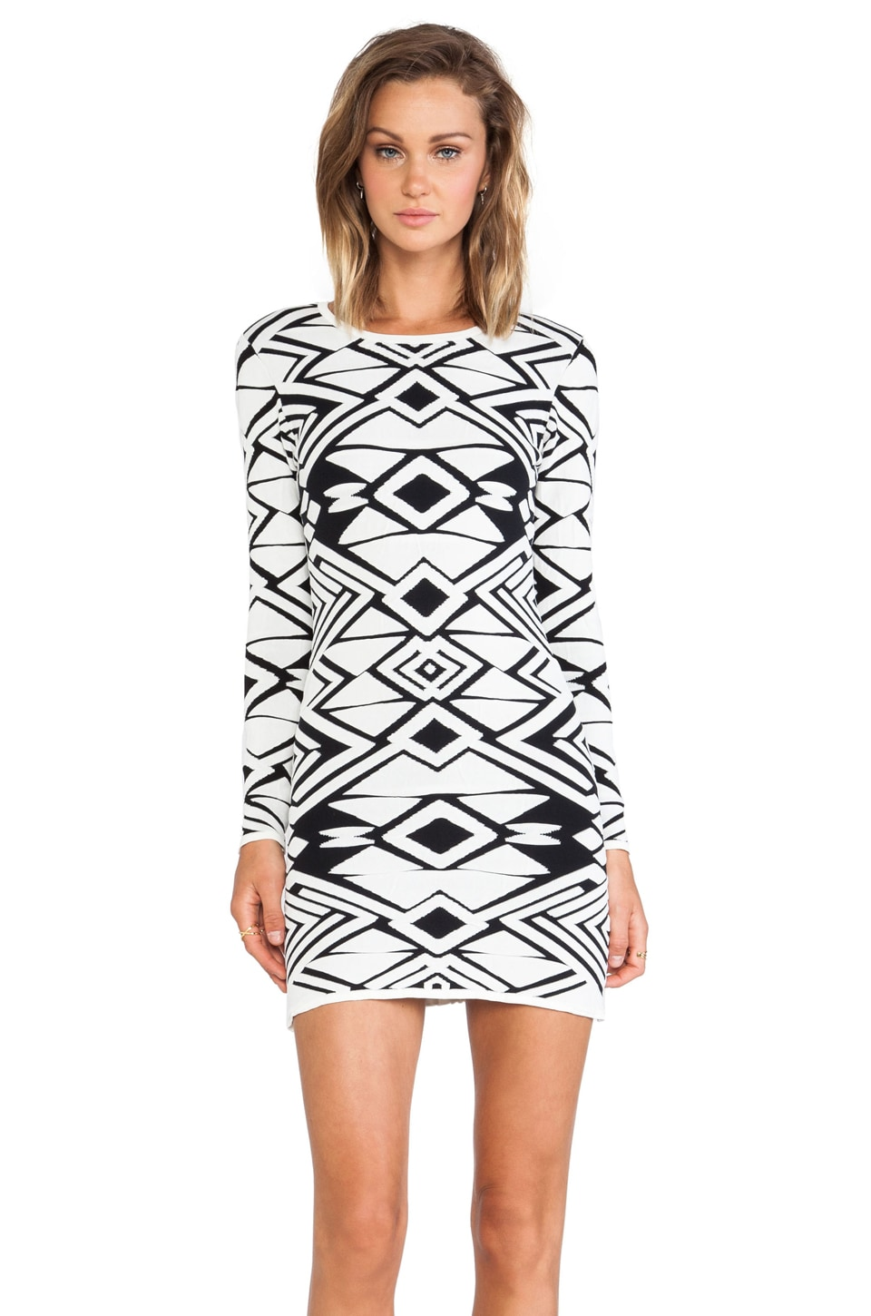 Parker Eve Knit Dress in Black & Ivory