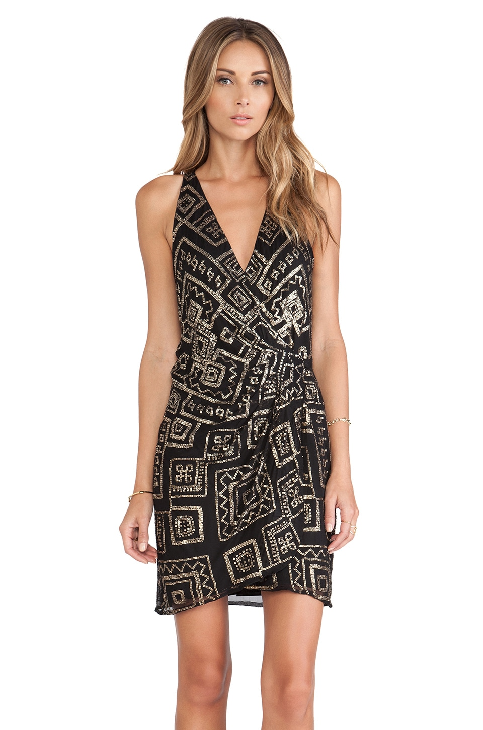Parker Reina Sequin Dress in Black