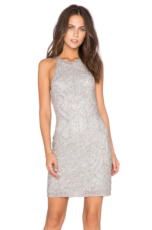 Parker Audrey Embellished Dress in Silver