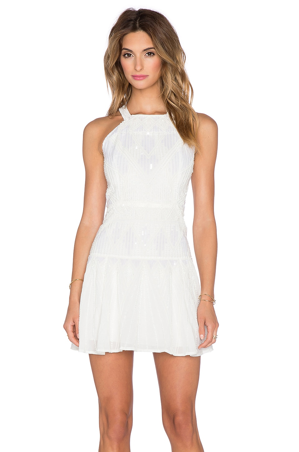 Parker Sequin Sabella Dress in White