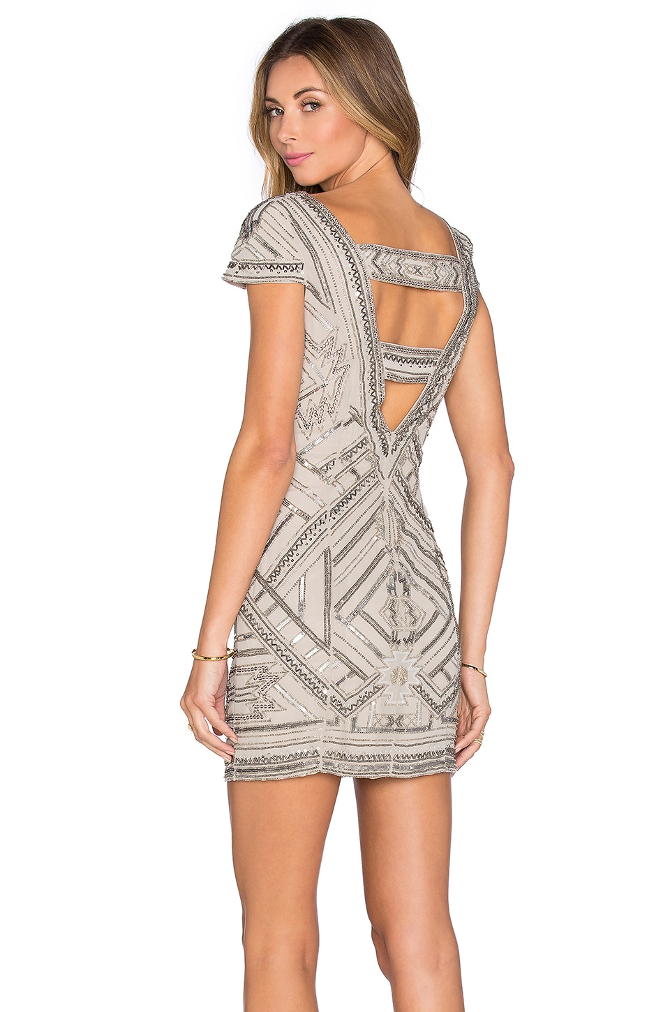 Parker Elijah Embellished Dress in Silver