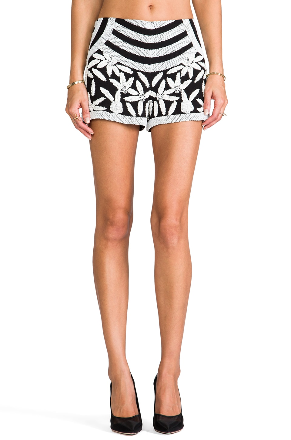 Parker Veda Beaded Shorts in Black/White