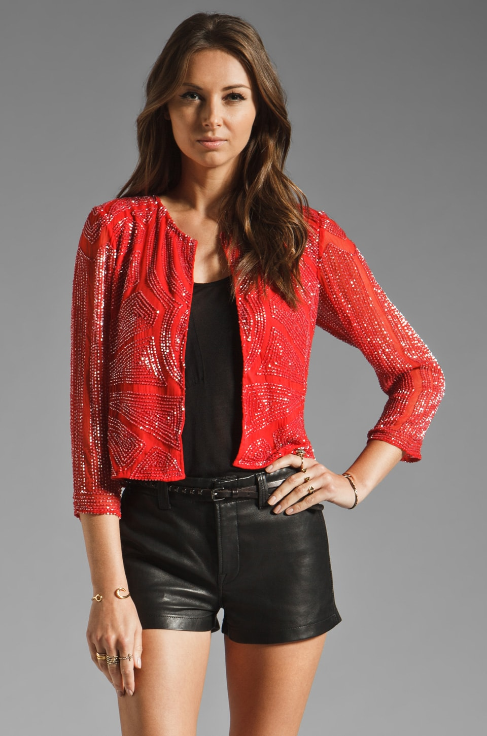 Parker Tonal Bugle Bead Design Jacket in Red